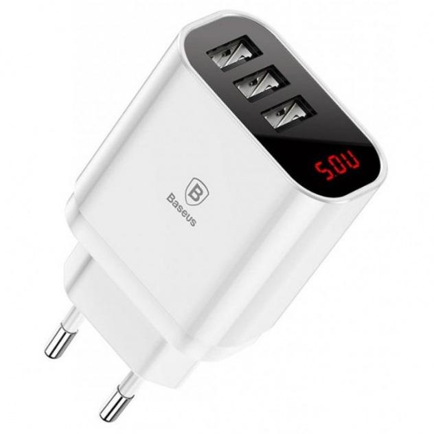 Baseus Mirror Lake NRT DY035 CCALL BH02 ładowarka sieciowa z 3 gniazdami USB 3,4A 17W biała
